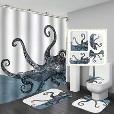 Octopus Art White Shower Curtain Bath Mat Toilet Cover Rug Bathroom Decor