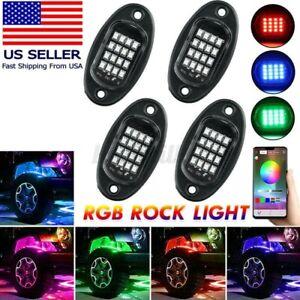 4pc RGB LED Rock Lights Kit Offroad Truck ATV UnderGlow Music Remote App Control