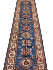 3 x 10 ft Super Kazak Rug Shades of Blue Silky Luster Bauhaus Style Runner Rug