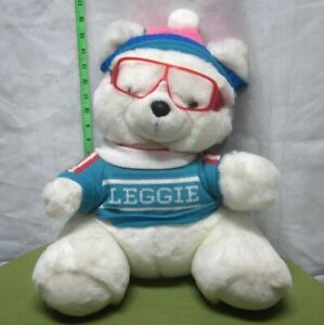 LEGGIE plush toy Teddy Bear glasses & sweater 1980s beat-up Leggetts polar doll