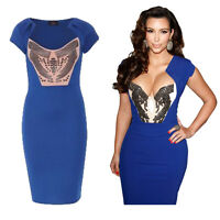 Womens Kim Kardashian Blue Crystal Embellished Celebrity Inspired Midi Dress