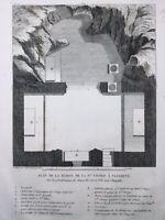 Nazareth 1844 Maison de Marie Chapelle Rare Gravure ancienne