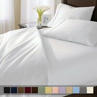 100% Pure Cotton Bed Sheet Set Sateen Solid 300 Thread Count Deep Pocket Sheets