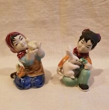 "Set Of 2 Cute Chinese Girl Figurines Holding Chick & Feeding Rabbit, 3 1/2"" Tall"