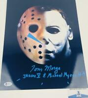 Tom Morga signed Jason/Michael Myers 11X14 METALLIC photo BAS COA H32879