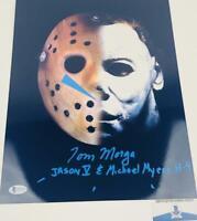 Tom Morga signed Jason/Michael Myers 11X14 METALLIC photo BAS COA H32879