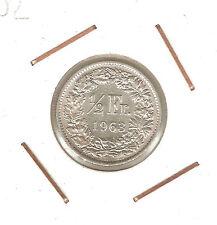 SUIZA (SWITZERLAND) 1/2 FRANC 1963 B (silver)