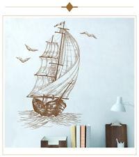 Sail Boat with Birds Nautical Sea Wall Sticker - Boy's Childrens Art Decal Vinyl