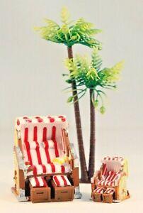Dekofigur Strandkorb 2 Gr. Rot/Blau Urlaub Strand Maritim Geldgeschenk Miniatur