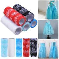 10 Yards Glitter Mesh Snowflake Tulle Roll Tutu Skirt Wedding Decor DIY Crafts