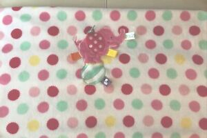 Circus Taggies Elephant Ball Baby Blanket Polka Dot Pink Security 30x40 Tag MINT