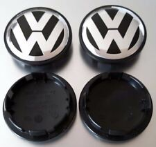 "2x VW VOLKSWAGEN BLACK WHEEL RIM 65MM 2.5"" CENTER HUB CAPS CHROME 3B7601171XRW"
