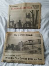 The Evening Gazette January 2, 1969 Webster Mass Fire