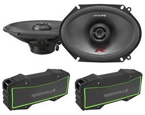 """Pair Alpine R-S68 6x8"""" 300 Watt Car Speakers Type-R RS68+(2) Bluetooth Speakers"""