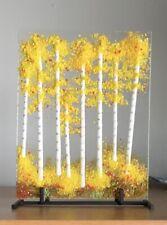 Stained Glass Autumn Aspen Trees Handmade Panel