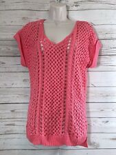 Olive + Oak Sweater Coral Sz L Short Sleeve Open Crochet Loose weave Sweater
