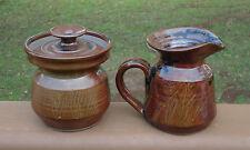 Rustic Country Style Australian Yarra Glen Pottery Milk,Gravy Jug & Sugar Bowl