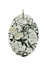 Silver and oval green moss agate pendant