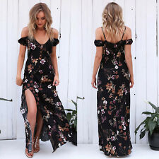 Hot Sexy Womens Maxi Boho Floral Summer Beach Long Halter Cocktail Party Dress