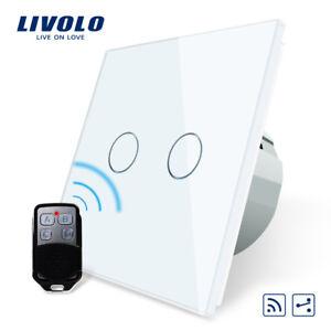Livolo Wand Funkschalter mit Fernbedienung Touch Glas in Weiss Wireless Remote
