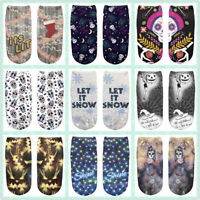 Fashion 1 Pair Cotton Printed Girls Unisex Ankle Socks Halloweem XMAS Gift