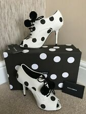DOLCE & GABBANA WHITE POLKA DOT PEEP TOE SHOES / BOOTIES MADE IN ITALY SIZE 5
