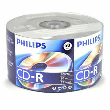 100 PHILIPS 52X Logo Surface CD-R CDR Blank Recordable Disc Media 80Min 700MB