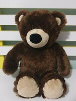 DARK BROWN FLUFFY TEDDY BEAR BUILD A BEAR CHOCOLATE BROWN 35CM BLACK EYES BAB