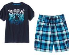 Gymboree Blue Safari 10 Tiger Shirt & Plaid cargo shorts blue