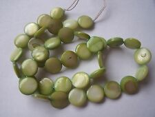 Mother of pearl shell MOP lime green 10mm flat round coin beads 15""