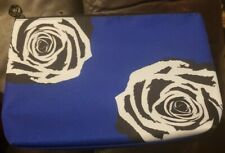 "Lancome Navy W/Black And White Floral Design Makeup Bag 8""x6"""