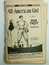 "VINTAGE FOOTBALL Themed Sheet Music ""All American Girl"" ""Leo Feist"" Pub."