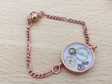 """Rose Gold Plated Chain 6.25"""" Steampunk Bracelet with Watch Parts in Resin"""