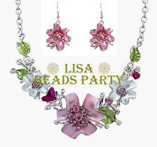 Fashion Charms Jewelry Flower&leaf Shape Pendants Chain Bib Necklace