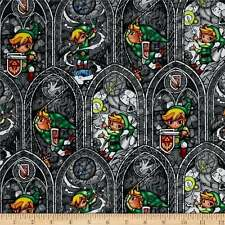 Legend of Zelda Stained Glass on Gray Cotton Fabric by the YARD