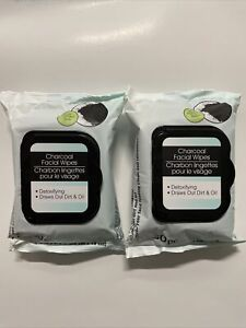 Charcoal Facial Wipes Detoxifying Draws Out Dirt & Oil 2 Pack Bundle NEW Face 60