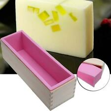 Rectangle Toast Loaf Bread Soap Cake Wooden Box Silicone Mold Mould DIY 1200g TL