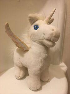 """Neopets White Uni Unicorn horse Plush 10"""" 2003 Electronic talking light up"""