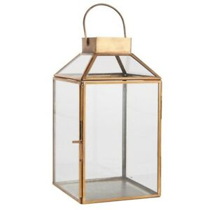 Brass Glass Lantern Norr Witch Inclined Glass Top by Ib Laursen 25.5 cm