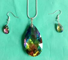 Teardrop Crystal Necklace Earring Set Women's Wedding Party Prom Bridal Jewelry