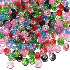 GL366f Assorted Bi-Color 6mm Round Crackle Glass Bead Mix 8-oz