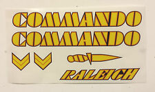 "Raleigh ""COMMANDO"" bike decal/stickers, set of 6 in Yellow/Orange/Black"