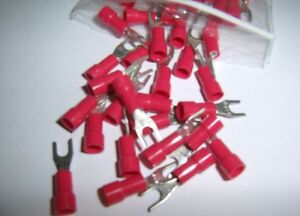 50 Wire Spade Fork Connector Red Vinyl Terminal #6 Car Audio Speaker Amp New