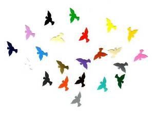 50 Aufkleber / Sticker  kleine Tauben front  bunt gemischt, neu