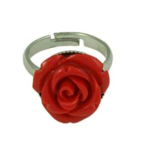 Red Acrylic Rose Adjustable Ring - PT601RRD