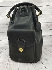 Vintage Authentic Coach Black Leather Backpack Handbag Purse 9992