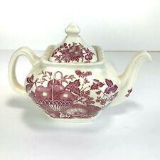 Vintage Masons Ironstone Red Transfer Teapot Fruit Basket