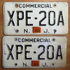 New Jersey 1983 COMMERCIAL License Plate PAIR # XPE-20A