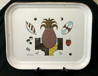 "Georges Briard Pineapple Enamelware Large Tray 20""x16"" Mid Cent Ambrosia White"