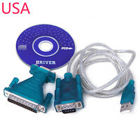 USB to RS232 DB9 Male Adapter 9 pin Serial Cable & Driver CD Windows 7 8 XP